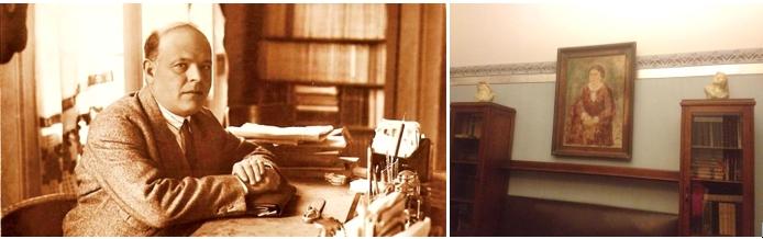 Бялик за рабочим столом, а прямо напротив на стене ― портрет жены Мани