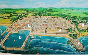 Реконструкция древней Кесарии приморской. 1- театр. 2 - ипподром. 3 - дворец Ирода Великого. 4 - гавань. 5 - храм Цезаря Августа.
