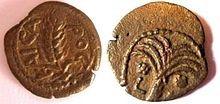 Прута первого префекта Иудеи Копония (6-8 гг.н.э.). Прута, бронза. Копоний под Августом. Год 36 (6 н.э.) 16.5мм, 2.2 г. Аверс: ячменный колос и греческая надпись «KAISA-РОС» [Цезаря]. Реверс: пальма с восемью ветвями, две грозди фиников. Греческие буквы «LΛς » обозначают годы от битвы при Акциуме — 36.