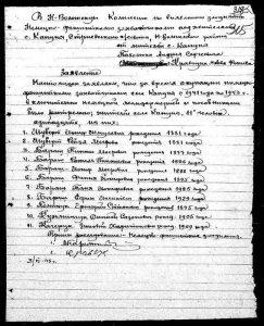 Список жителей с. Кануны, погибших во время немецкой оккупации