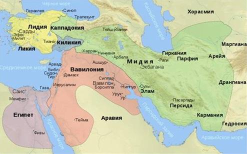Место действия двух книг — Даниэля (Элам, Сузы) и Товита (Ниневия, Раги Мидийские, Экбатана).