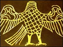 Золотой фарн, украшающий погребальный балдахин захороненной женщины в гробнице начала нашей эры. Фарн часто был символом царской власти, основанной на справедливости.
