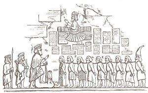 Торжество Дария над магом Гауматой и мятежными правителями областей. Изображение с Бехистунского рельефа. Бехистунская надпись находится на выглаженной стене скалы, обращенной к востоку (около тысячи клинописных строк, каждая в среднем по два метра). Изображения сделаны на высоте 300 футов над подошвою скалы. В нише Бехистунской скалы стоит царь Дарий I, с короною на голове, опираясь левою рукою на лук; его фигура больше других ростом (1,72 м); рядом с ним копьеносец Гобрий и лучник Аспатин. Правой ногой он наступил на Гаумату, нога и руки которого подняты в агонии. Перед Дарием стоят девять человек в разной одежде, со связанными руками, с открытой головой; все они связаны вместе по шеям длинной цепью. Это девять царей, которые возмутились против Дария, побеждены им и будут наказаны смертью. Среди них находится Нидинту-Бел (Навуходоносор III). Девятый, в высокой остроконечной шапке — Скунха, вождь сакского племени тиграхауда. Над Дарием парит Ахурамазда, протягивает левую руку с кольцом к Дарию, символически вручая ему царскую власть, а поднятой правой рукой благословляет. Имеется предположение, что Бехистунская скала ещё в доахеменидское время могла быть местом культа Митры.