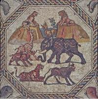Мозаика, обнаруженная на полу римской виллы IV века в городе Лод в июле 2018 году.