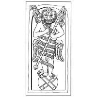 Митра с головой льва. Изображение в митреуме. Мрамор. Рим. Одним из наиболее характерных изображений Митры является Леонтоцефал: обнаженная мужская фигура с львиной головой, обвитая змеей или двумя змеями, как кадуцей.