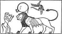 Бог Тот, автор «Книги мертвых», приветствует Тефнут, возвращающуюся из Нубии. Наверху — богиня-покровительница Верхнего Египта Нехбет (белый коршун) с пером Маат, богини справедливости, правды и миропорядка. Над изображением львицы идеограмма Тефнут в виде знака, весьма напоминающего знак зодиакального созвездия Льва.