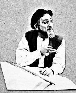И.М. Миндлин в роли Тевье-молочника по одноименной пьесе Шолом-Алейхема. Одесский передвижной еврейский театр. 1948 г. Личный архив Ф. Миндлина