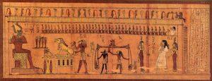 Книга мертвых Та-шерит-мин: изображение загробного суда (гл. 127). III век до н.э. (?). Папирус, тушь, краска. Размер 30,3x79,8. Британский музей. Лондон