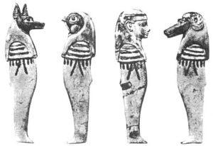 Сосуды для забальзамированных внутренностей (канопы), изготовленные в виде богов — сыновей Хора. Слева направо: Дуамутеф, Кебехсенуф, Имсет, Хапи. XIX династия