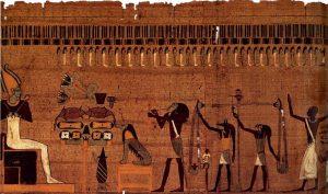Книга мертвых Яхтеснахта (глава 125): загробный суд. Около 600 г. до н.э. Материал Папирус, краска