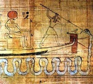 Сет поражает змея Апопа с ладьи бога солнца Ра (Ра сидит). Из Книги мертвых. Египетский музей, Каир