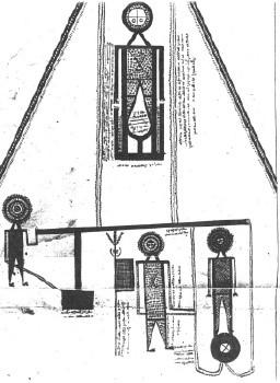 Взвешивание Абатура. Вверху под навесом ― Абатур. На правой чаше весов стоит Сиф. Из рукописи «Диван Абатура» (Diwan Abathur)