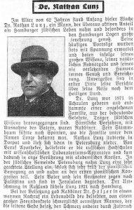 Некролог о смерти Н.Лунца на немецком языке