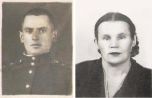 Последнее фото Льва Медынцева с военного билета и послевоенное фотография его вдовы Екатерины Внуковой