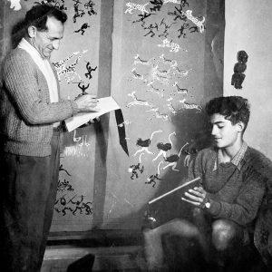 Художник Нахум Гутман с сыном Хами, будущим профессором-биохимиком
