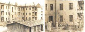 «Дом Скульских» в Кустанае на улице Гоголя 57, кв.12. На обоих снимках видны двери «нашей» парадной. На первом этаже справа вход в квартирку Гени