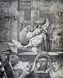 «В синагоге». Приложение к газете «Южное обозрение» (Одесса). Декабрь 1897 г., № 1. (Личный архив Ф. Миндлина)