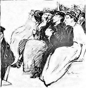 «Публика в еврейском театре». Худ. Зигмунд Брюнер