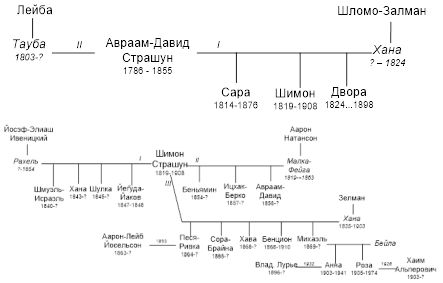 Рис.30 Граф родословной семьи р. Авраама-Давида Страшуна, сына Йег̄уды «Зарецера»