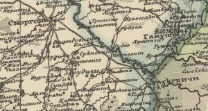 Рис.15 Карта Шуберта с указанием м. Заскевичи (1832 г.)